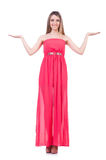 Beautiful girl in pink long dress isolated on Royalty Free Stock Photography