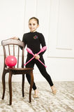 Beautiful girl with Pink Rhythmic gymnastics hoop Stock Images