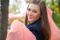 Beautiful girl with pink shawl Stock Photo