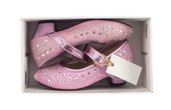 Beautiful girl pink shoes in box Royalty Free Stock Image