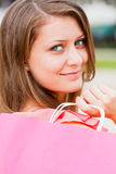 Beautiful Girl With Pink Shopping Bag Royalty Free Stock Images