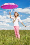 Beautiful girl with pink umbrella Royalty Free Stock Images