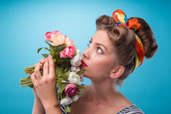 Beautiful girl in pinup style Royalty Free Stock Photos