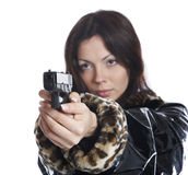 The beautiful girl with a pistol Stock Image