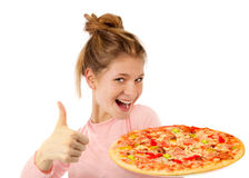Beautiful girl with pizza Royalty Free Stock Images
