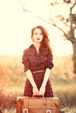 Beautiful girl in plaid dress Stock Photography