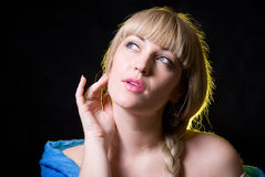 The beautiful girl with a plait against Stock Image