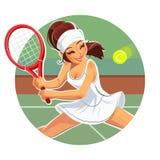 Beautiful girl play tennis. Eps10  illustration.  on white background Stock Photos