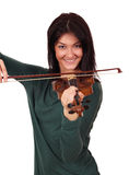 Beautiful girl play violin Stock Images