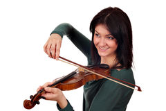 Beautiful girl play violin portrait Stock Photos
