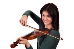 Beautiful girl play violin portrait Stock Photos