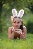 Beautiful girl with playboy ears Royalty Free Stock Photography