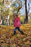 Beautiful girl playing. Beautiful little girl playing in an autumn park Royalty Free Stock Photos
