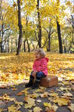 Beautiful girl playing. Beautiful little girl playing in an autumn park Royalty Free Stock Image