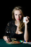 The beautiful girl with playing card Royalty Free Stock Photo
