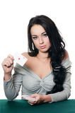 The beautiful girl with playing card Royalty Free Stock Image