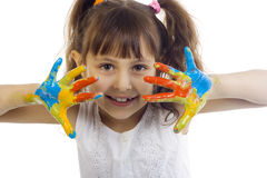Beautiful girl playing with colors Royalty Free Stock Photography