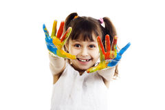 Beautiful girl playing with colors Stock Photos