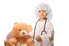Beautiful girl playing doctor Stock Image