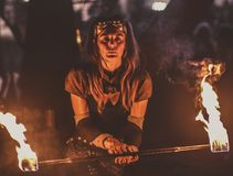 Beautiful Girl Playing With Fire, Hellfest Royalty Free Stock Image