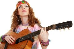 Beautiful Girl playing guitar Royalty Free Stock Photos