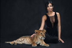 Beautiful girl playing with a lion cub on a black background. The Beautiful girl playing with a lion cub on a black background Stock Image