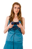 Beautiful girl plays on the joystick Stock Photos