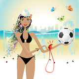 Beautiful girl plays volleybal Royalty Free Stock Images
