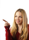 Beautiful girl pointing Stock Image