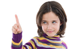 Beautiful girl pointing with focus in the finger a Royalty Free Stock Photography