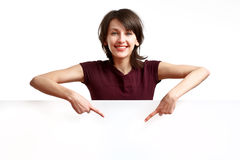 Free Beautiful Girl Pointing Her Fingers Down Stock Images - 14495814