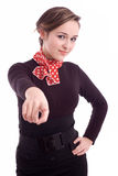 Beautiful girl pointing to the viewer Royalty Free Stock Image