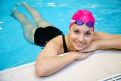 Beautiful girl  at the pool Stock Images
