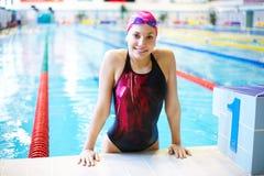 Beautiful girl  at the pool Stock Photos