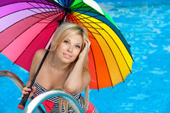 Beautiful girl in the pool Royalty Free Stock Images