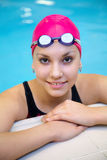 Beautiful girl at the pool royalty free stock photos