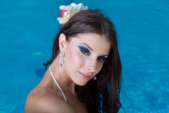 The beautiful girl in pool Royalty Free Stock Photo