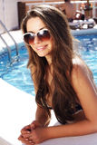 Beautiful girl in pool Royalty Free Stock Images