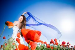 Beautiful girl in the poppy field Royalty Free Stock Photo