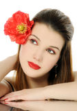 Beautiful girl with poppy Royalty Free Stock Photos