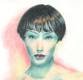Beautiful girl portrait. An artistic portrait of a woman hand drawn with coloured pencil stock illustration