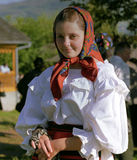 Beautiful girl portrait. Maramures  Romania - August 15th , 2011 : beautiful girl dressed in white traditional clothing Stock Images