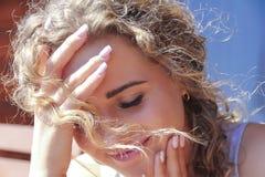 Beautiful girl portrait. Curly hair stock photo