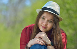 Beautiful girl portrait. In forest Royalty Free Stock Photography