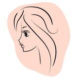 Beautiful girl portrait. graphic face stock illustration