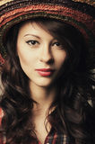 Beautiful girl portrait with hat Stock Photography