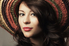 Beautiful girl portrait with hat Royalty Free Stock Photos