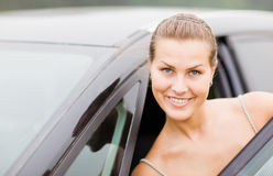 Beautiful Girl Portrait with Her Vehicle Stock Photo