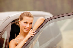Beautiful Girl Portrait with Her Vehicle stock photos