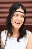 Beautiful girl portrait. Hippie style, white dress Stock Photography